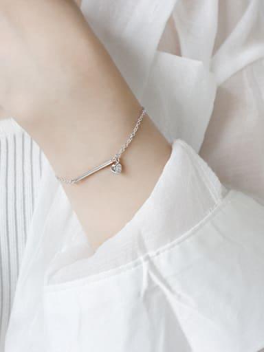 Sterling Silver geometric long Zirconia Pendant Bracelet