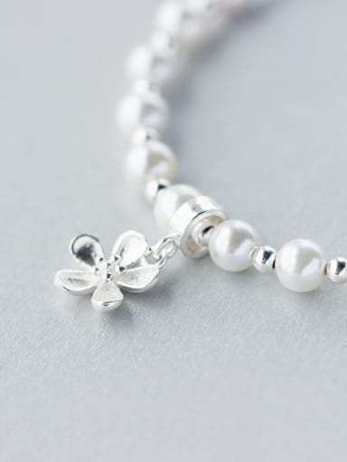 S925 Silver Sweet Pearl Bead Flower Lovely Bracelet