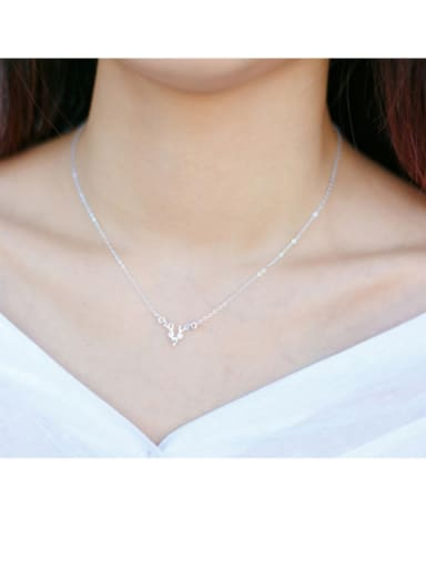 925 Sterling Silver With Platinum Plated Cute Deer Necklaces