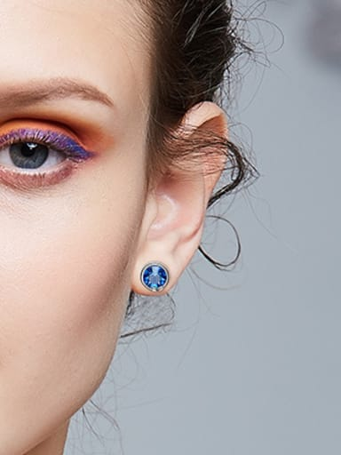 Simple Blue Swarovski Crystal Round Stud Earrings