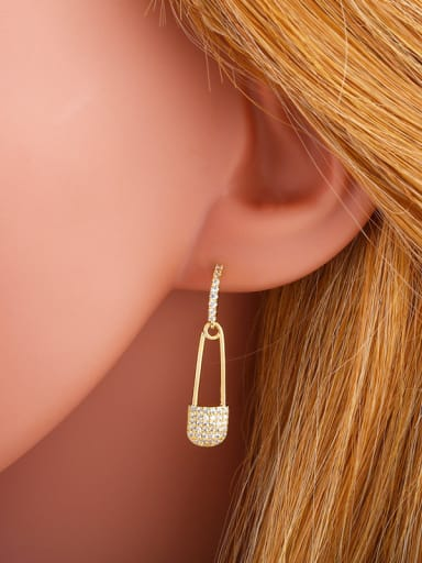 Copper With  Cubic Zirconia Trendy Paper clip Stud Earrings