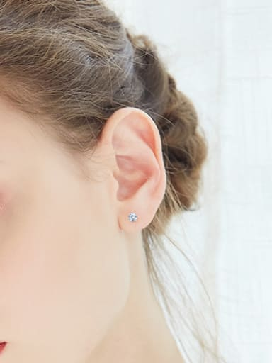 Simple Tiny Cubic Zircon 925 Silver Stud Earrings
