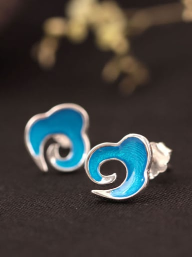 Blue Enamel Clouds Shaped stud Earring