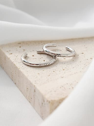 925 Sterling Silve  Simple and smooth English free size rings
