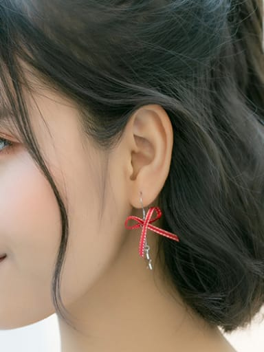 925 Sterling Silver With Platinum Plated Cute Bowknot Hook Earrings