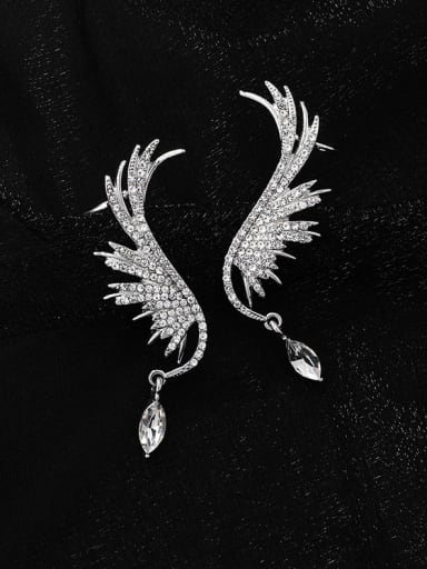 Alloy With Platinum Plated Delicate Angel Wing Drop Earrings