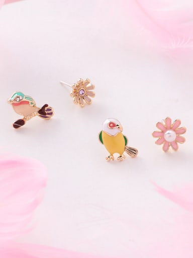 Alloy With Rose Gold Plated Cute Asymmetry  Little Bird Flower  Stud Earrings