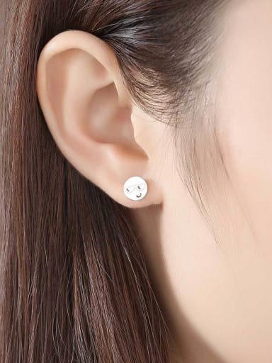 925 Sterling Silver With 18k Gold Plated Cute Face Stud Earrings