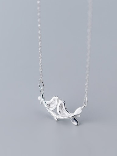 925 Sterling Silver With Silver Plated Cute A pair of birdsl Necklaces