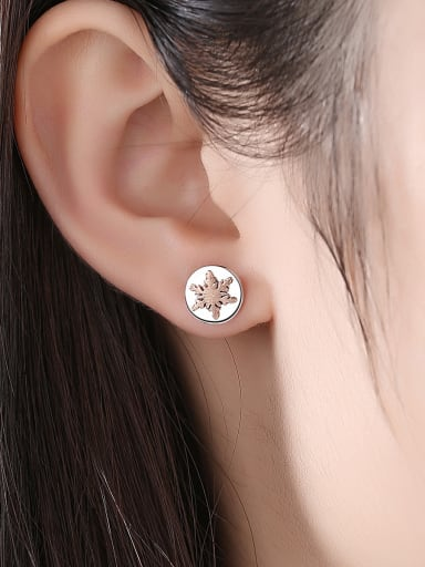 925 Sterling Silver With Glossy  Simplistic Christmas Tree Snowflake  Stud Earrings