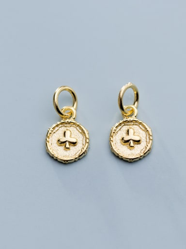 925 Sterling Silver With Gold Plated Simplistic Round Cross Charms