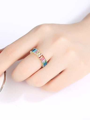 Copper With Gold Plated Luxury Geometric Band Rings