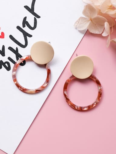 Alloy With Gold Plated Bohemia Round Acrylic Stud Earrings