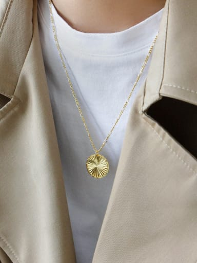 925 Sterling Silver With Gold Plated Personality  Round  Gear  Necklaces