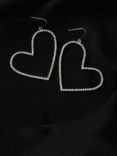 Alloy With Gold Plated Simplistic Hollow Heart Hook Earrings