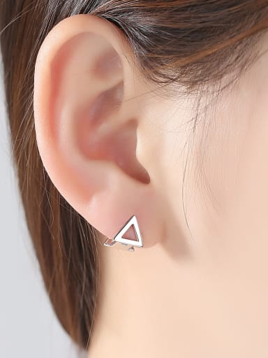 925 Sterling Silver With Platinum Plated Simplistic Triangle Clip On Earrings