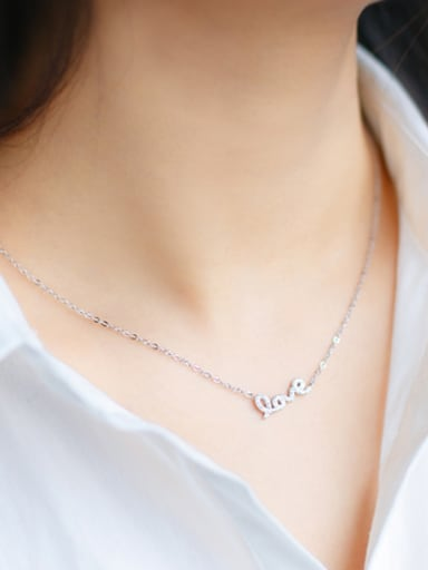Exquisite Monogrammed Shaped S925 Silver Rhinestone Necklace