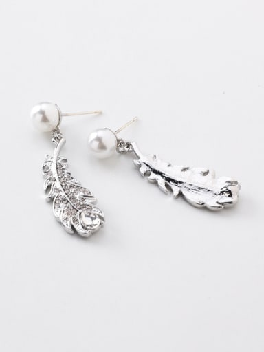 Alloy With Platinum Plated Simplistic Leaf Drop Earrings