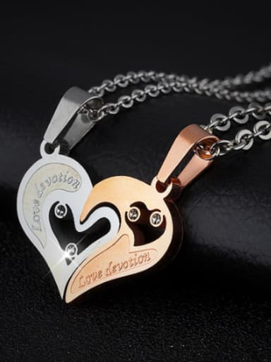Fashion Personalized Combined Heart-shaped Titanium Lovers Necklace