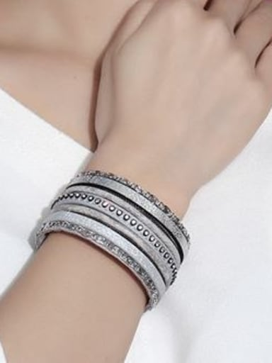 Trendy Gray Artificial Leather Rhinestones Charm Bracelet