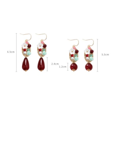 Alloy With Gold Plated Vintage Flower Hook Earrings