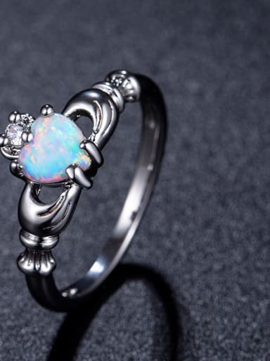 White Gold Plated Opal Alloy Fashion Ring