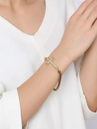 Luxury Gold Plated Cross Shaped Rhinestone Bracelet