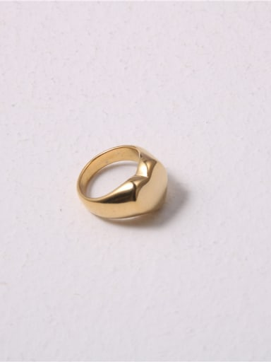 Titanium With Gold Plated Simplistic Smooth Heart Band Rings