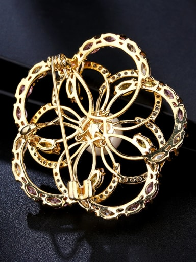 Copper With Cubic Zirconia Delicate Flower Brooches