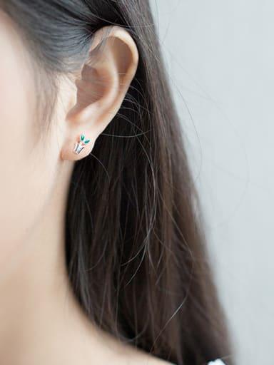 S925 silver lovely grass mini shovel stud cuff earring