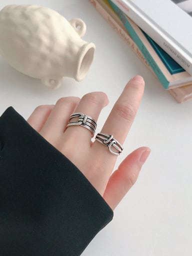 925 Sterling Silver Vintage Geometric free size Ring