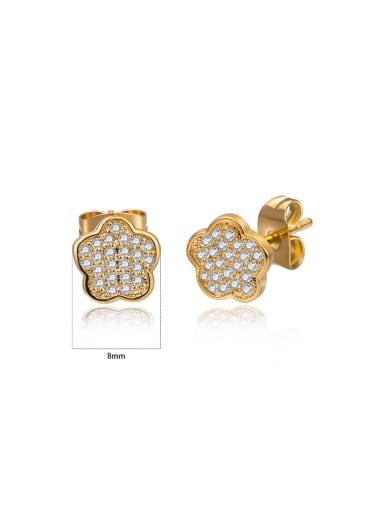 Micro-inlaid zircon flower-shaped earrings