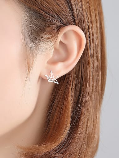 925 Sterling Silver With Glossy  Simplistic Paper crane Stud Earrings
