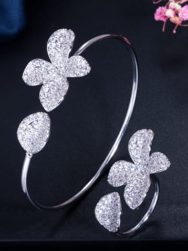 Copper With Cubic Zirconia  Luxury Flower 2 Piece Jewelry Set  Rings and Bangles