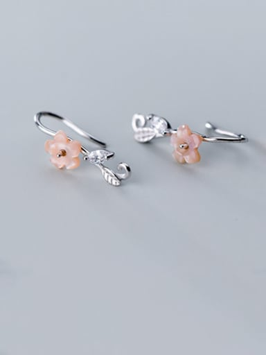 925 Sterling Silver With Resin Cute Flower Hook Earrings