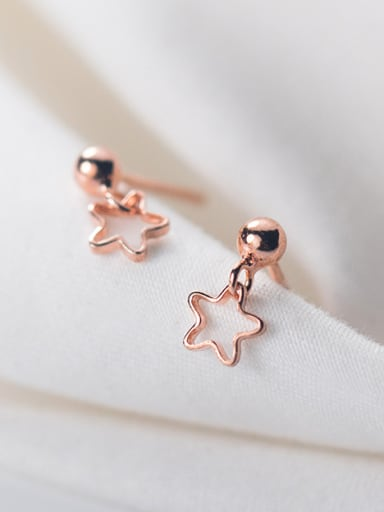 925 Sterling Silver With Silver Plated Simplistic Hollow Star Stud Earrings