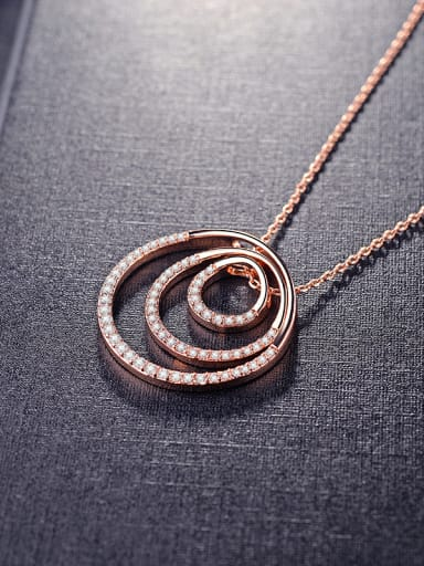 Fashion circle AAA zircon necklace rose gold silver two color selectable