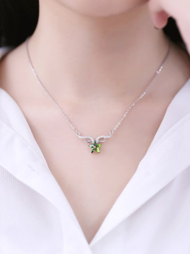 Micro Pave Angel Wings Star Crystal Necklace