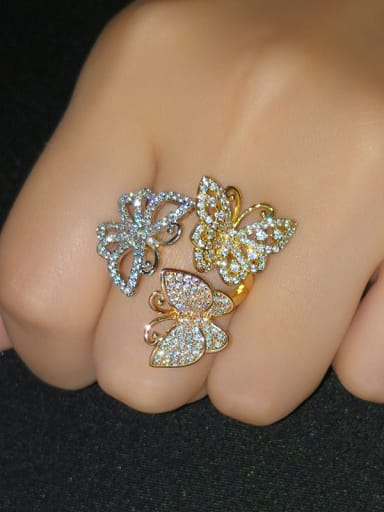 Copper With  Cubic Zirconia Trendy Flower Statement Rings