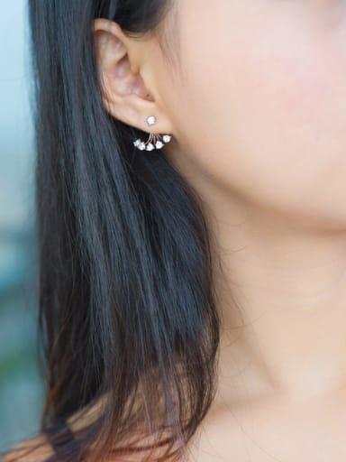 Personality Geometric Shaped Shining Zircons Silver Drop Earrings