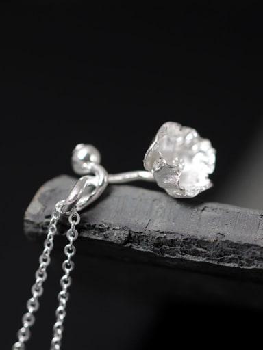 Beautiful Flower Silver Women Necklace