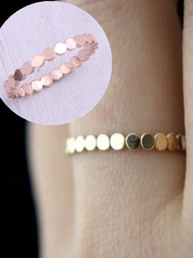 Titanium With Rose Gold Plated Vintage Smooth  Round Band Rings