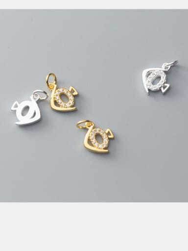925 Sterling Silver With Silver Plated Simplistic Animal Charms and cubic zirconia pendant