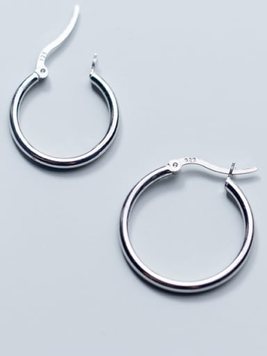 Simple round circle 925 silver earrings