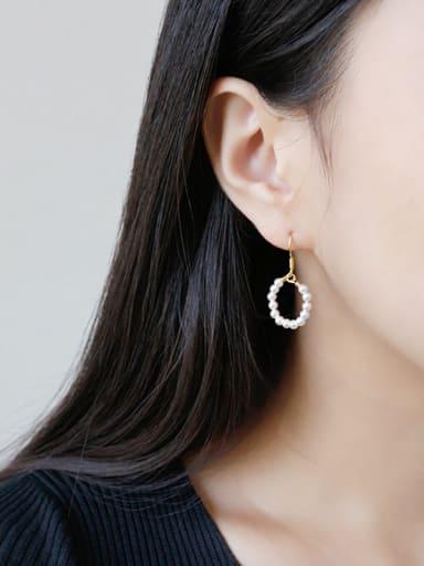 Sterling silver simple imitation pearl earrings