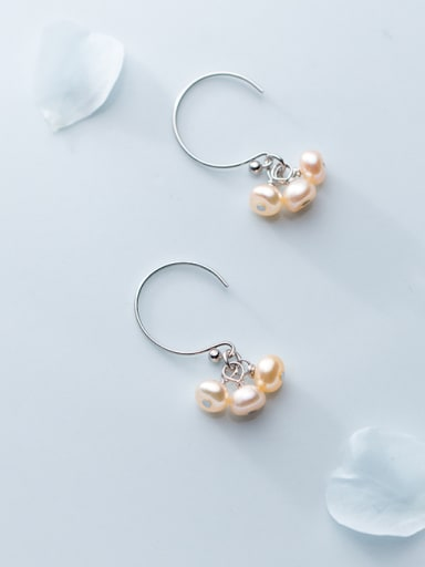 925 Sterling Silver With  Imitation Pearl Romantic Earrings