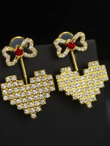 Copper With Gold Plated Fashion Bowknot  Heart-shaped Cluster Earrings