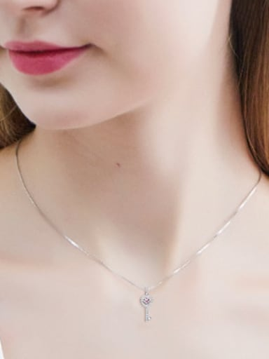 S925 Silver Key-shaped Crystal Necklace