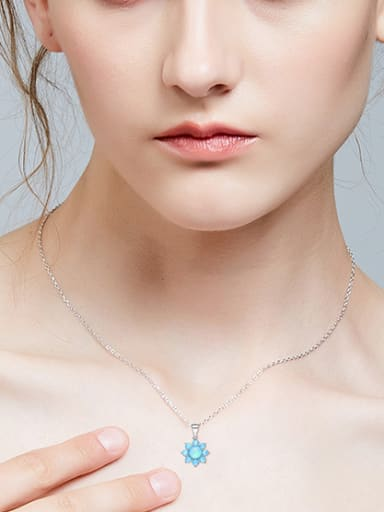 Fashion Opal stones Flowery 925 Silver Pendant