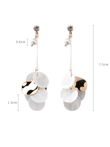 Alloy With Rose Gold Plated Trendy Shell  Round Piece Drop Earrings